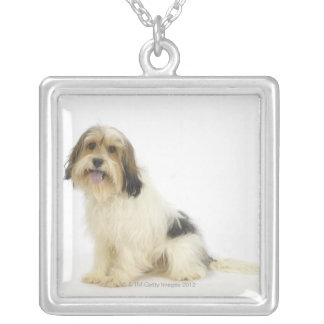 Dog on White 104 Silver Plated Necklace