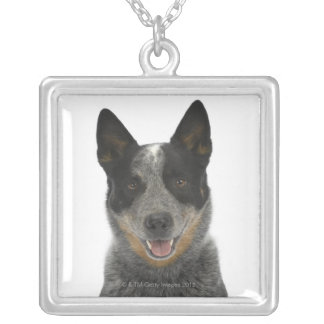 Dog on White 5 Silver Plated Necklace