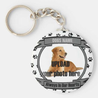 Dog or Cat Memorial Always In Our Hearts Basic Round Button Key Ring