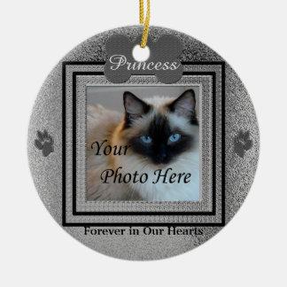 Dog or Cat Memorial Custom Silver Round Ceramic Decoration