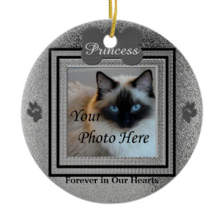 Dog or Cat Memorial Custom Silver Round Ceramic Decoration