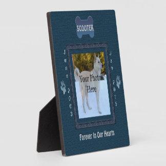 Dog or Cat Memorial Elegant Blue Plaque