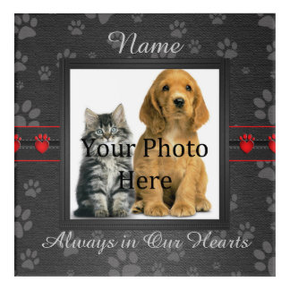 Dog or Cat Paw Prints Pet Memorial to Personalise Acrylic Wall Art