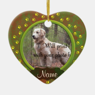 Dog or Cat Paw Prints Photo Christmas Ceramic Heart Decoration