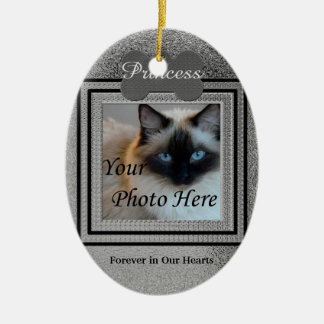Dog or Cat Photo Memorial Custom Silver Ceramic Oval Decoration