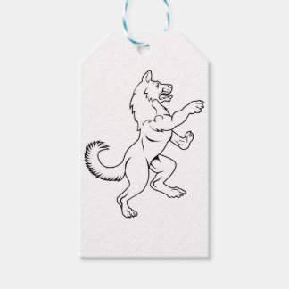 Dog or Wolf in Heraldic Rampant Coat of Arms Pose Gift Tags