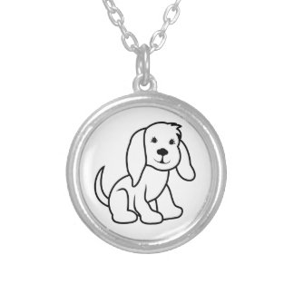 Dog Outline Round Pendant Necklace