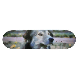 Dog painting skate deck