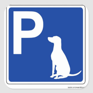 Dog Parking European Road Sign Sticker