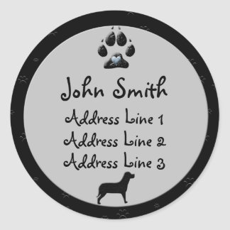Dog Paw Black and Grey Business  Address Labels Stickers