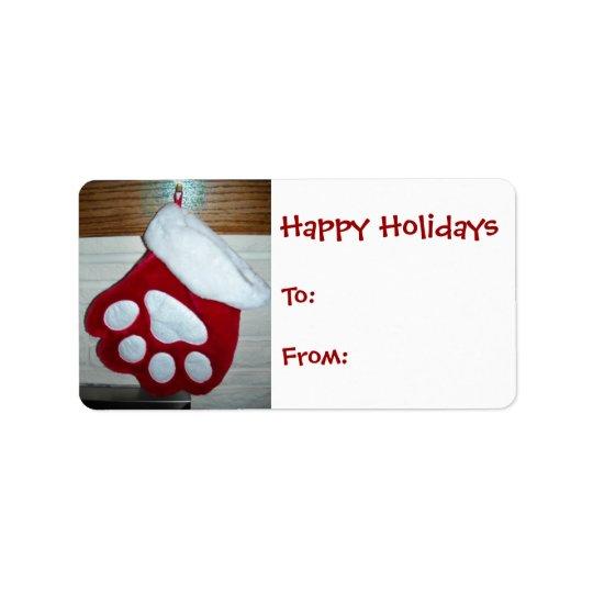 Dog Paw Christmas Stocking Address Label