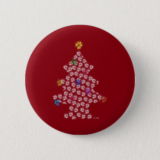 Dog Paw Christmas Tree 6 Cm Round Badge