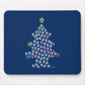 Dog Paw Christmas Tree Mouse Pad