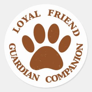 Dog Paw Loyal Friend Classic Round Sticker