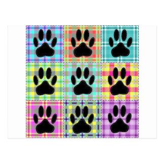 Dog Paw Pattern Quilt Postcard
