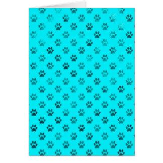 Dog Paw Print Blue Teal Aqua Background Metallic Card