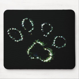 Dog Paw Print Christmas lights mouse pad art