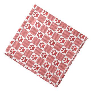 Dog Paw Print Gingham Pattern Cute Red White Pet Bandana