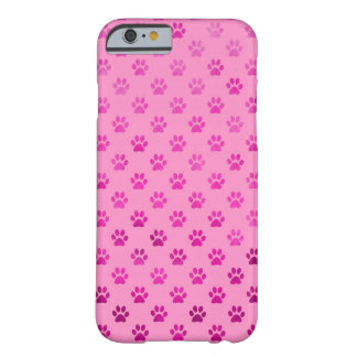 "Dog Paw Print ""Hot Pink"" Pink Background Metallic Barely There iPhone 6 Case"