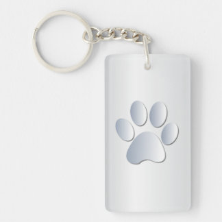 Dog paw print in silver, gift Double-Sided rectangular acrylic key ring
