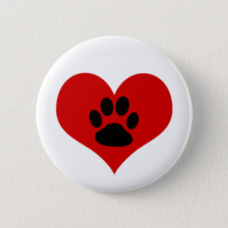 Dog Paw Print On My Heart - Pin Button Badge