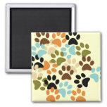 Dog paw print pattern square magnet