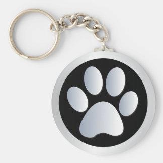 Dog paw print silver black keychain gift idea