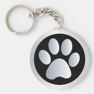 Dog paw print  silver, black keychain, gift idea key ring