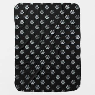 Dog Paw Print Silver Gray Black Background Baby Blanket