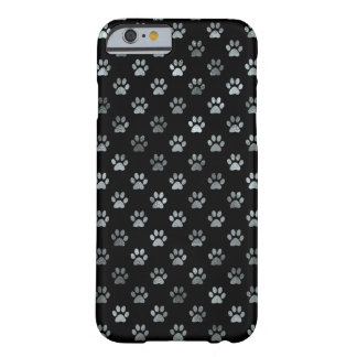 Dog Paw Print Silver Gray Black Background Barely There iPhone 6 Case