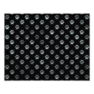 Dog Paw Print Silver Gray Black Background Photograph