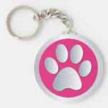 Dog paw print  silver, pink keychain, gift idea