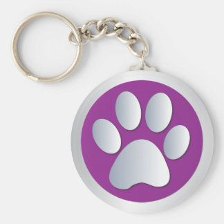 Dog paw print  silver, purple keychain, gift idea basic round button key ring