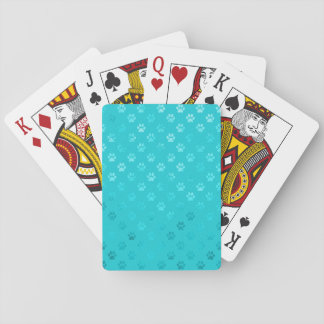 Dog Paw Print Teal Blue Aqua Faux Metallic Playing Cards