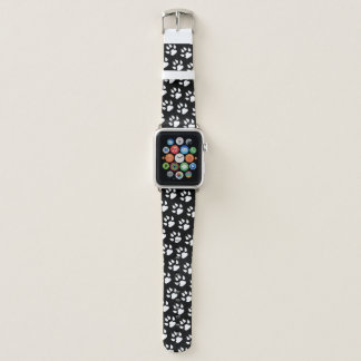 Dog Paw Print White Black Pattern Apple Watch Band