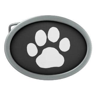 Dog Paw Print - White on Black Oval Belt Buckles