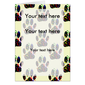 Dog Paw Print With Confetti And Streamer Card