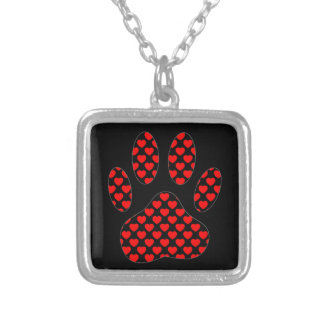 Dog Paw Print With Hearts Silver Plated Necklace
