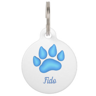 Dog Paw Print with Pet Name Pet ID Tag