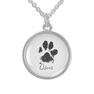 Dog Paw Print with Your Pet's Name - Black - Sterling Silver Necklace