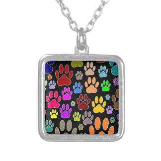 Dog Paw Prints All Over Silver Plated Necklace