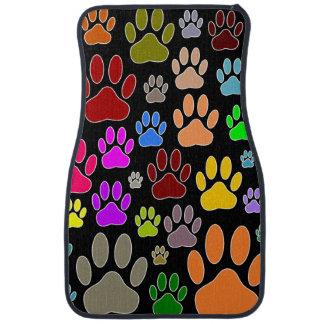 Dog Paw Prints On Black Background Car Mat
