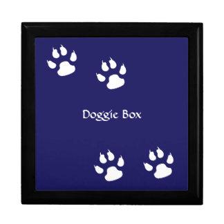 Dog Paw Prints on Blue Large Square Gift Box