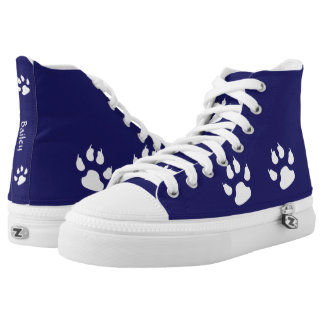 Dog Paw Prints on Blue Printed Shoes