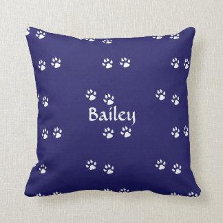 Dog Paw Prints on Blue: Template Cushion