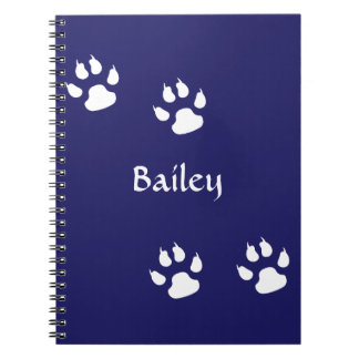 Dog Paw Prints on Blue Template Notebooks