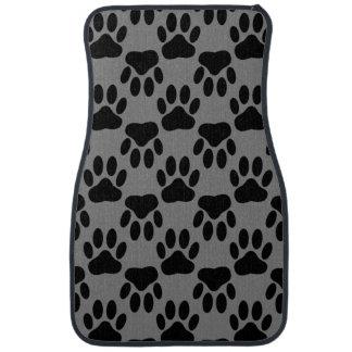Dog Paw Prints On Gray Background Car Mat