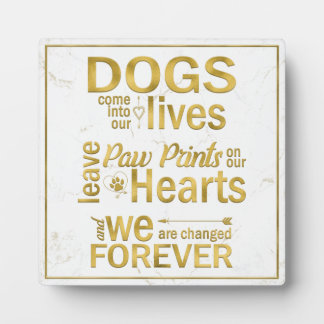 Dog Paw Prints On Our Hearts Memorial Plaque