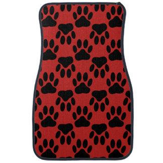 Dog Paw Prints On Red Background Car Mat