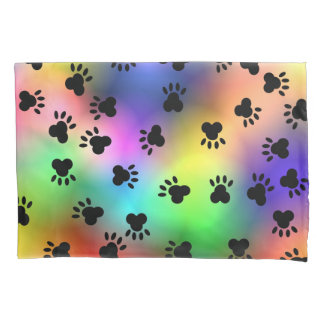 Dog Paw Prints Rainbow Pillow Case